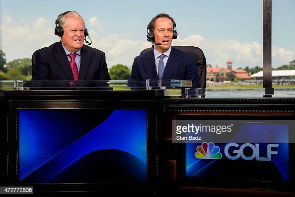 Golf Channel commentators Johnny Miller left and Dan Hicks work in their television broadcast booth during the third round of THE PLAYERS...