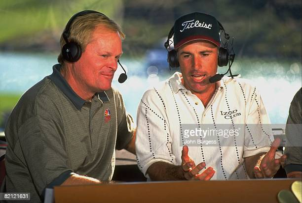 Golf Closeup of NBC media announcer Johnny Miller and Curtis Strange in broadcast booth with headset equipment Palm Desert CA 1/20/1996
