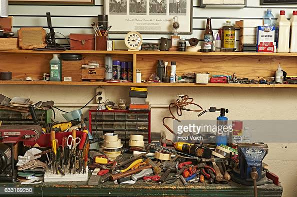 Closeup of tools on workbench during photo shoot in workshop garage in the the former home of Arnold Palmer At the time of his death Palmer had an...
