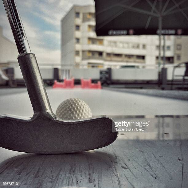 Golf Club And Ball On Roof Terrace