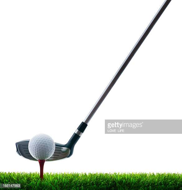 Golf Club, Ball and Tee on grass