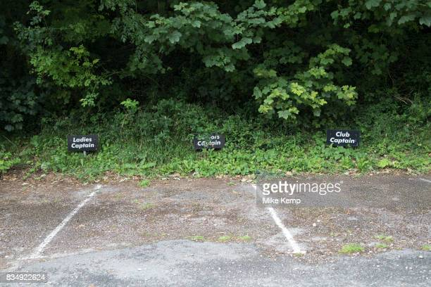 Golf club parking spaces for the club captains in Axmouth Devon England United Kingdom