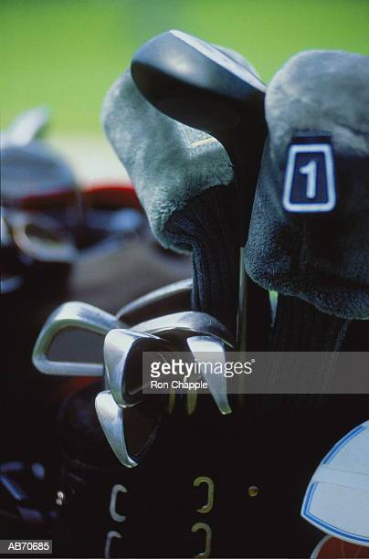Golf clubs in bag, close-up