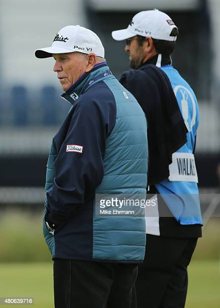 Golf coach Butch Harmon watches practice rounds ahead of the 144th Open Championship at The Old Course on July 14 2015 in St Andrews Scotland