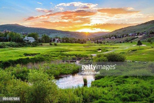 Golf Course Sunset, Utah : Stock Photo