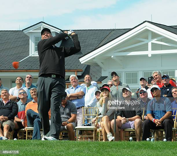 Golf entertainer Dan Boever Lara Trump and Eric Trump attends the 9th Annual ETF Golf Invitational at Trump National Golf Club Westchester on...