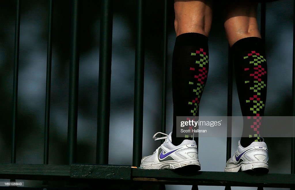 A golf fan is seen during crazy sock day in the third round of the Shell Houston Open at the Redstone Golf Club on March 30, 2013 in Humble, Texas.