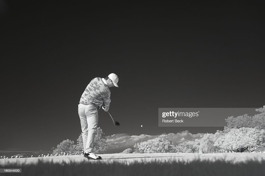 Infrared view of Billy Horschel in action, drive during Monday play at Torrey Pines GC. Scenic. Robert Beck F7 )