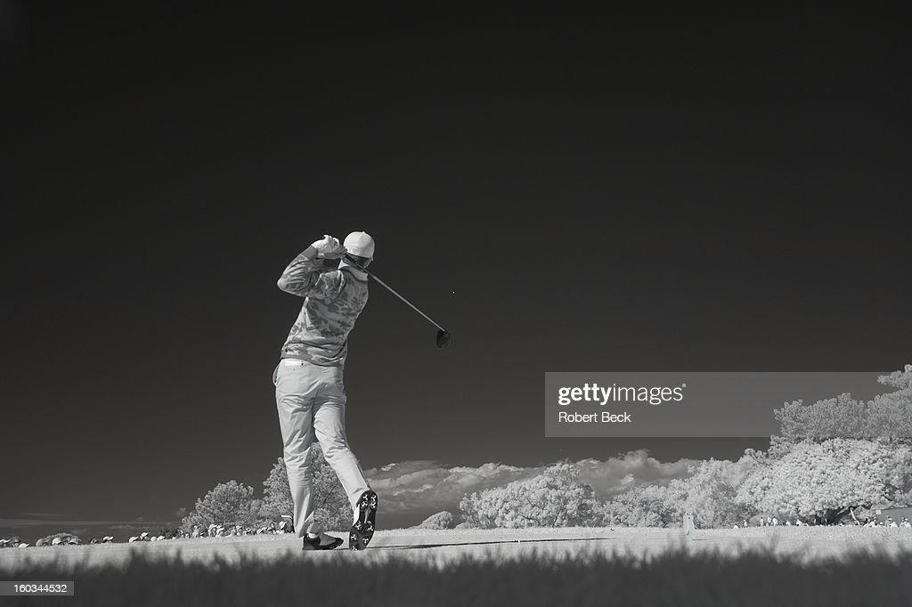 Infrared view of Billy Horschel in action, drive during Monday play at Torrey Pines GC. Scenic. Robert Beck F11 )