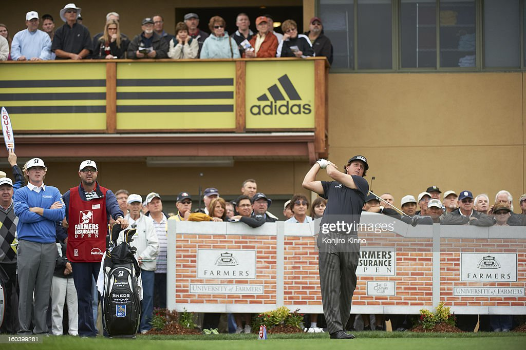 Phil Mickelson in action, drive during Thursday play at Torrey Pines GC. Kohjiro Kinno F178 )
