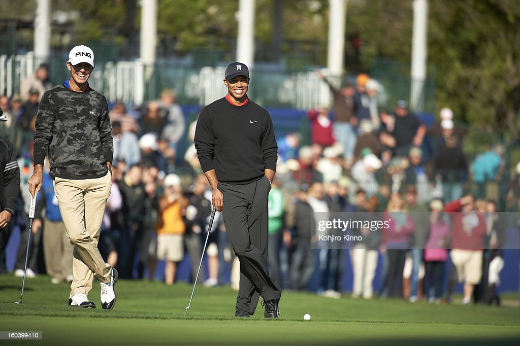Tiger Woods during Monday play at Torrey Pines. Kohjiro Kinno F14 )