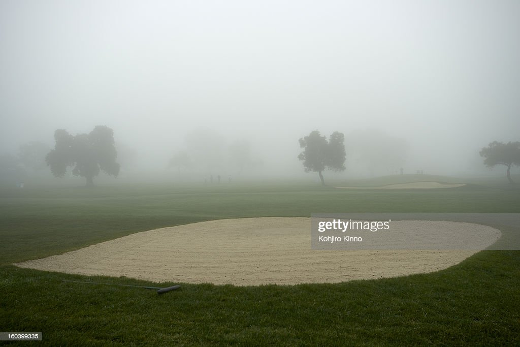View of sand trap during weather delay due to heavy fog on Saturday at Torrey Pines GC. Kohjiro Kinno F6 )