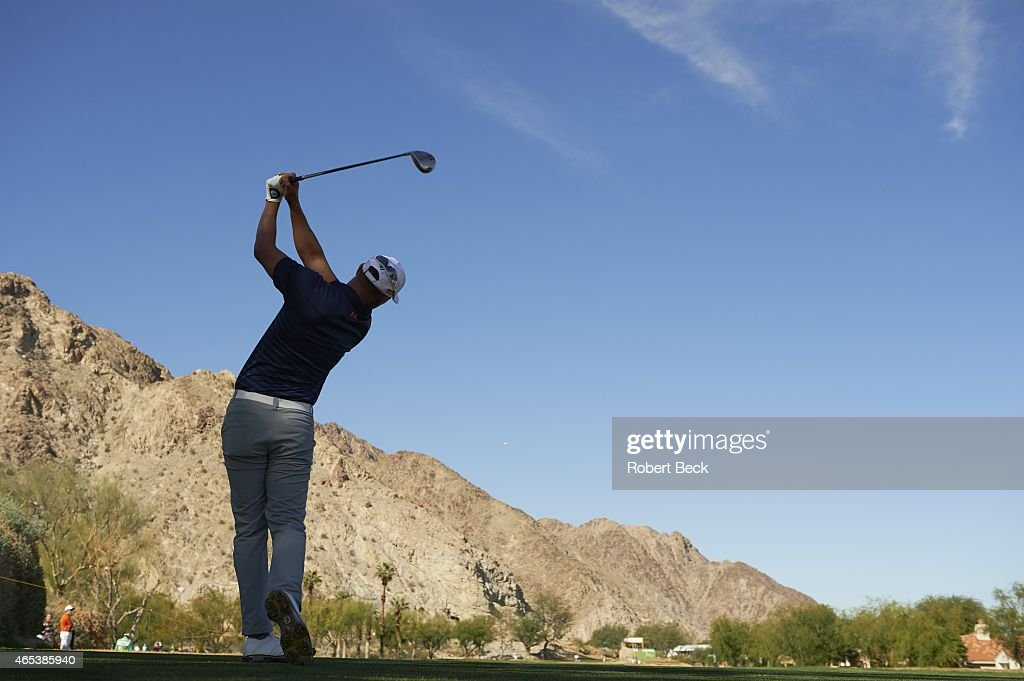 Humana Challange James Hahn in action drive from No 2 tee of Nicklaus course on Friday at La Quinta CC La Quinta CA CREDIT Robert Beck