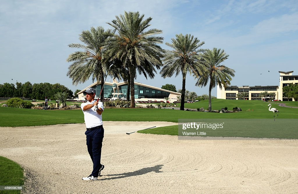Golf in Abu Dhabi Ambassador, <a gi-track='captionPersonalityLinkClicked' href=/galleries/search?phrase=Matteo+Manassero&family=editorial&specificpeople=4479535 ng-click='$event.stopPropagation()'>Matteo Manassero</a> of Italy and Peter German, Abu Dhabi HSBC Championship Tournament Director host a lunch and course enhancement tour at the Abu Dhabi Golf Club ahead of the 10th Anniversary of the Abu Dhabi HSBC Championship on November 25, 2014 in Abu Dhabi, United Arab Emirates.
