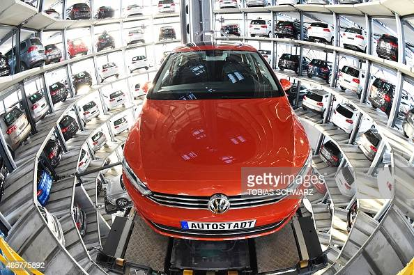 Golf is pictured inside the socalled cat towers of car manufacturer Volkswagen AG at the company's assembly plant in Wolfsburg March 10 2015 AFP...