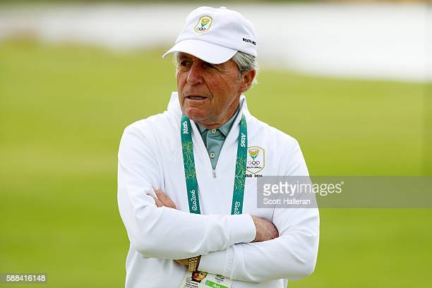 Golf legend Gary Player looks on during the first round of men's golf on Day 6 of the Rio 2016 Olympics at the Olympic Golf Course on August 12 2016...