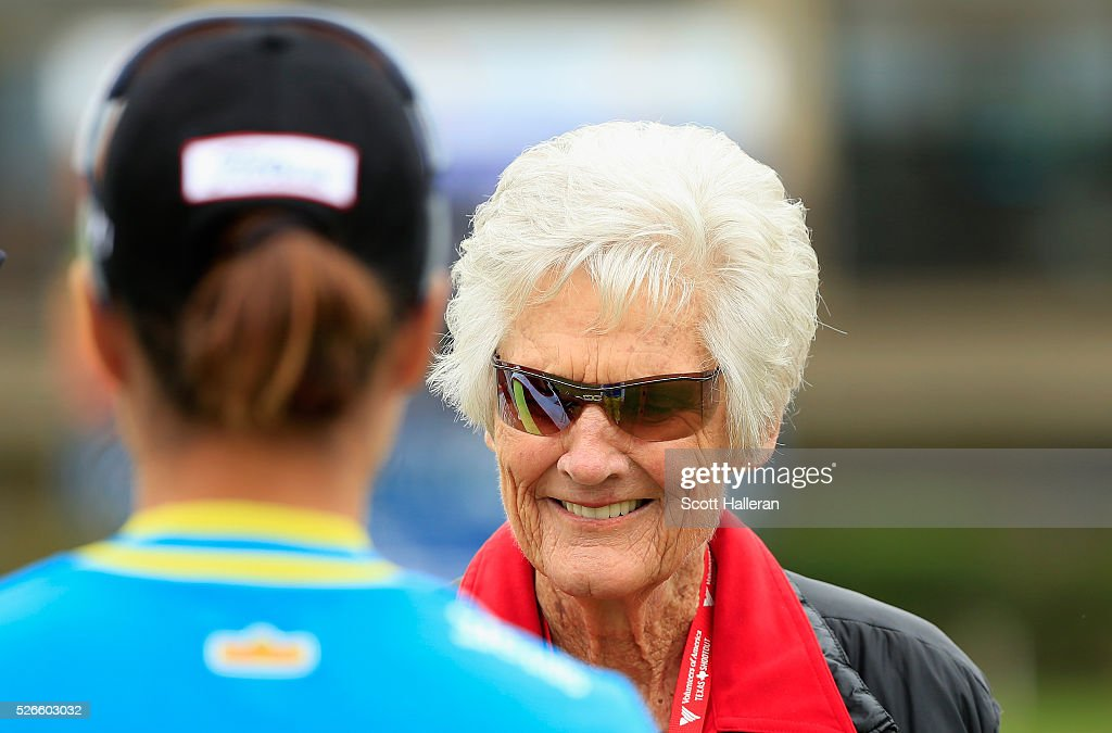 Golf legend <a gi-track='captionPersonalityLinkClicked' href=/galleries/search?phrase=Kathy+Whitworth&family=editorial&specificpeople=2012276 ng-click='$event.stopPropagation()'>Kathy Whitworth</a> greets <a gi-track='captionPersonalityLinkClicked' href=/galleries/search?phrase=Haeji+Kang&family=editorial&specificpeople=5711752 ng-click='$event.stopPropagation()'>Haeji Kang</a> of South Korea on the first tee during the third round of the Volunteers of America Texas Shootout at Las Colinas Country Club on April 30, 2016 in Irving, Texas.