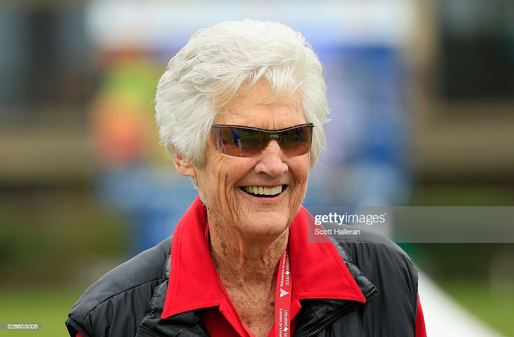 Golf legend <a gi-track='captionPersonalityLinkClicked' href=/galleries/search?phrase=Kathy+Whitworth&family=editorial&specificpeople=2012276 ng-click='$event.stopPropagation()'>Kathy Whitworth</a> waits on the first tee during the third round of the Volunteers of America Texas Shootout at Las Colinas Country Club on April 30, 2016 in Irving, Texas.