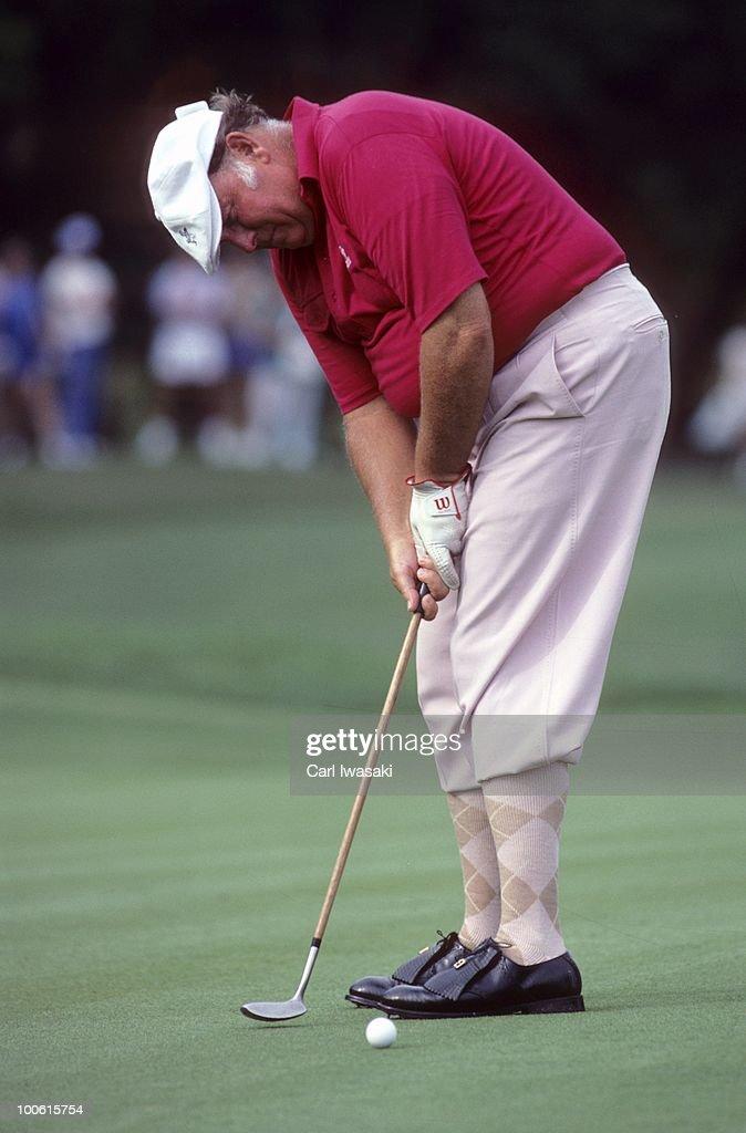 Billy Casper in action, putt during tournament at Onion Creek Club. Senior Tour. Austin, TX 5/2/1984