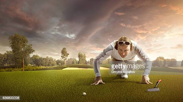 Golf: Man playing golf in a golf course