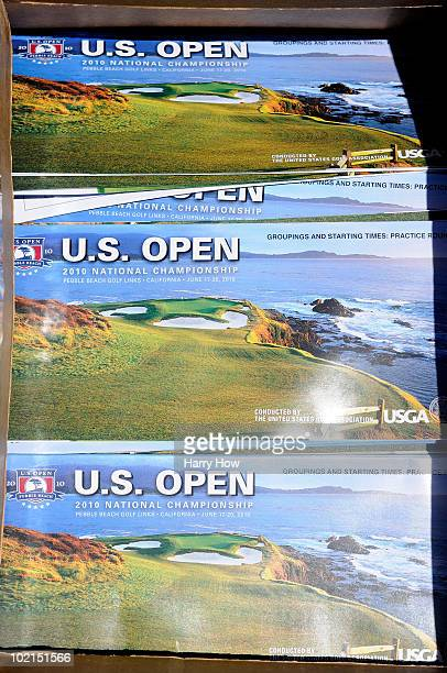 Golf maps are seen on display during a practice round prior to the start of the 110th US Open at Pebble Beach Golf Links on June 16 2010 in Pebble...