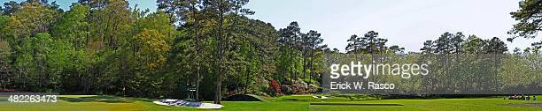 Masters Preview Panoramic view of Amen Corner No 11 green No 12 hole and No 13 fairway during Par 3 Contest on Wednesday at Augusta National Augusta...