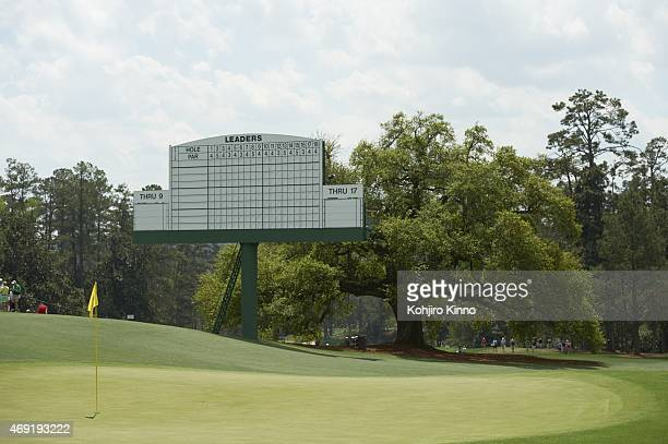 Masters Preview Scenic view of No 18 green before Par 3 Tournament on Wednesday at Augusta National View of leaderboard Augusta GA 4/8/2015 CREDIT...