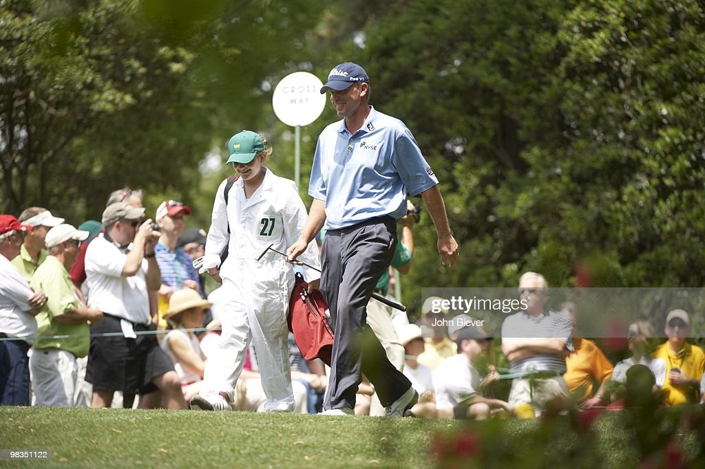 Steve Stricker with daughter Bobbi Maria during Par 3 Contest on Wednesday at Augusta National. Augusta, GA 4/7/2010