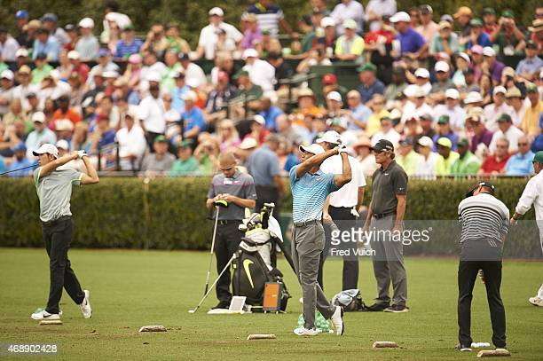 Masters Preview Tiger Woods in action from practice range on Monday at Augusta National Augusta GA CREDIT Fred Vuich