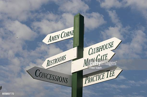 Masters Preview View of signs directing to AMEN CORNER 16th GREEN BACK GATE 15th GREEN CONCESSIONS RESTROOMS and HOLES 34 during pre tournament...
