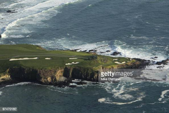 Pebble Beach National Pro Am Scenic aerial view of No 7 of Pebble Beach Golf Links from MetLife Blimp View of the Pacific Ocean Pebble Beach CA...