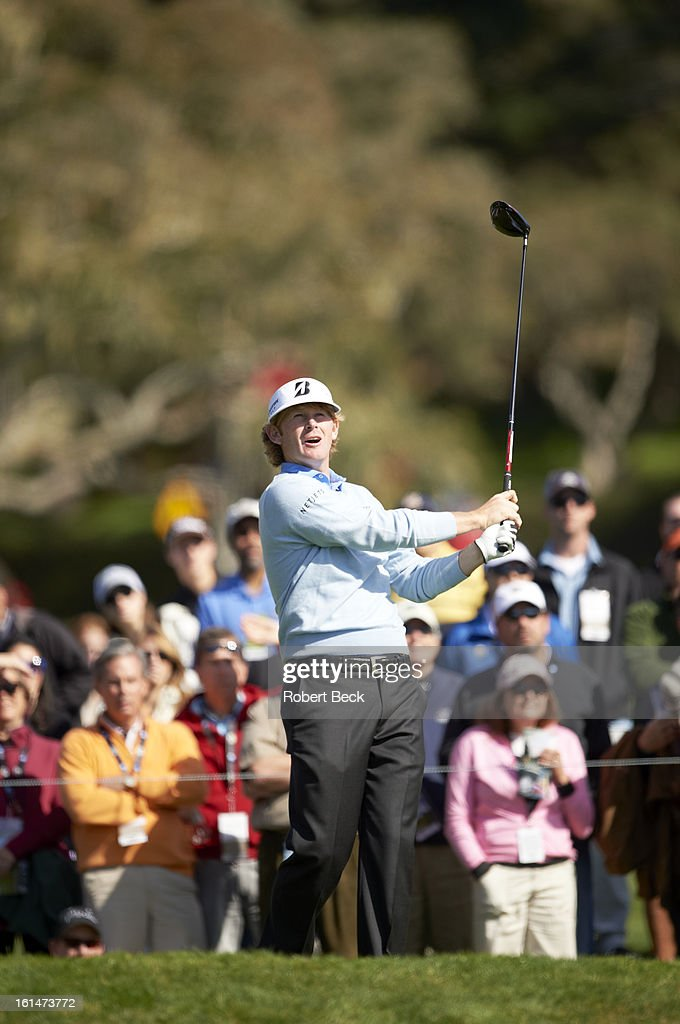 Brandt Snedeker in action, drive during Sunday play at Pebble Beach Golf Links. Robert Beck F74 )