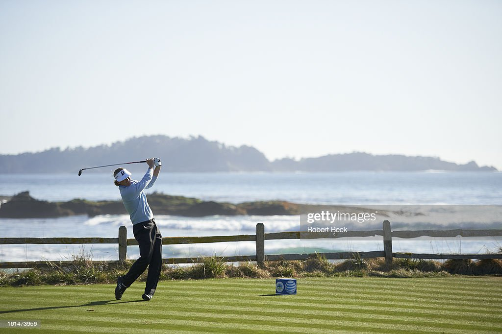 Brandt Snedeker in action, drive during Sunday play at Pebble Beach Golf Links. Robert Beck F109 )