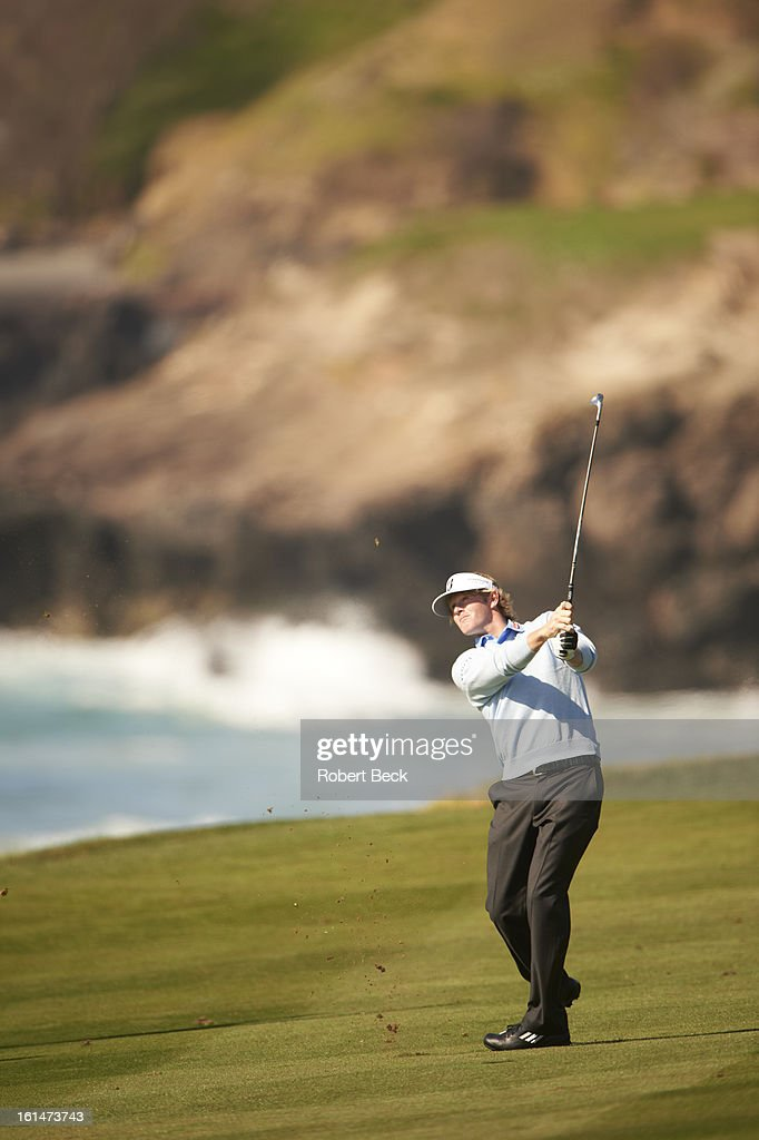 Brandt Snedeker in action during Sunday play at Pebble Beach Golf Links. Robert Beck F99 )