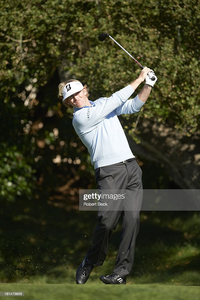 Brandt Snedeker in action during Sunday play at Pebble Beach Golf Links. Robert Beck F37 )