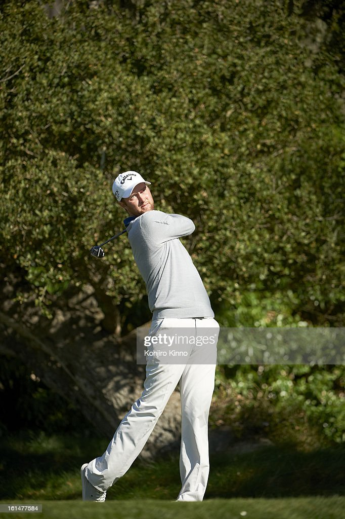Chris Kirk in action, drive during Sunday play at Pebble Beach Golf Links. Kohjiro Kinno F233 )