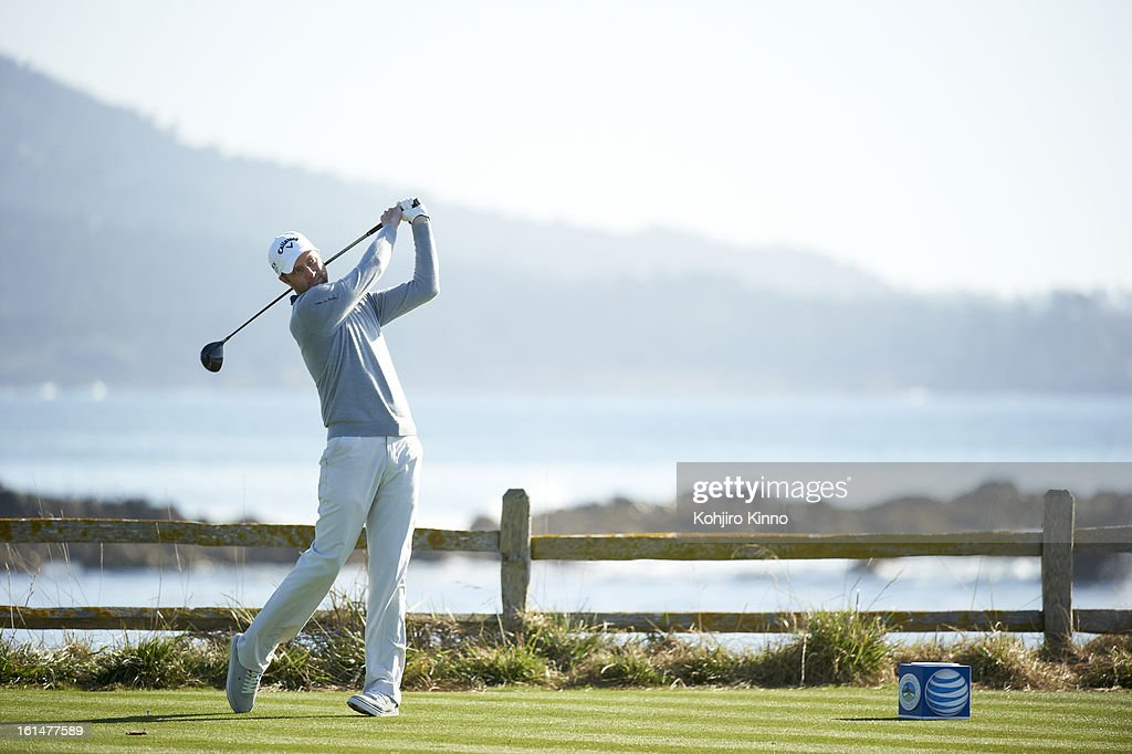 Chris Kirk in action, drive during Sunday play at Pebble Beach Golf Links. Kohjiro Kinno F277 )
