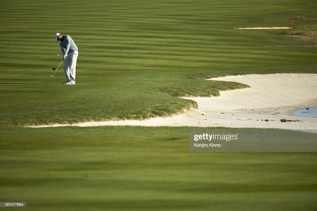 Chris Kirk in action during Sunday play at Pebble Beach Golf Links. Kohjiro Kinno F303 )