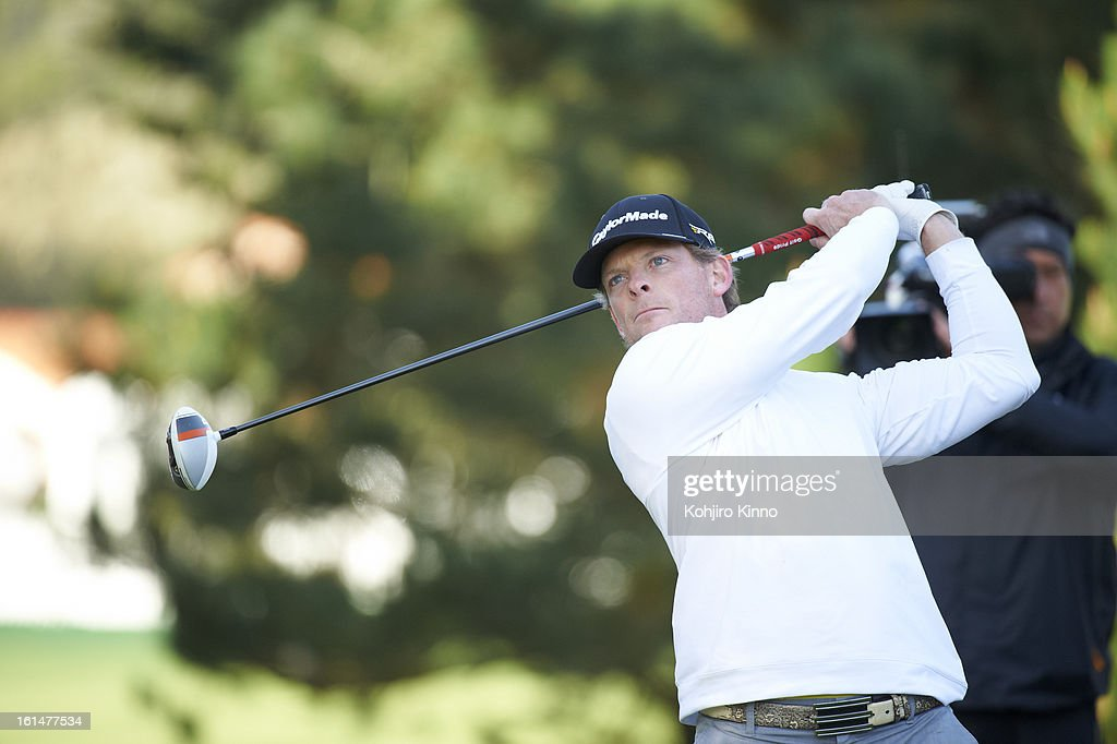 Closeup of James Driscoll in action, drive during Sunday play at Pebble Beach Golf Links. Kohjiro Kinno F17 )