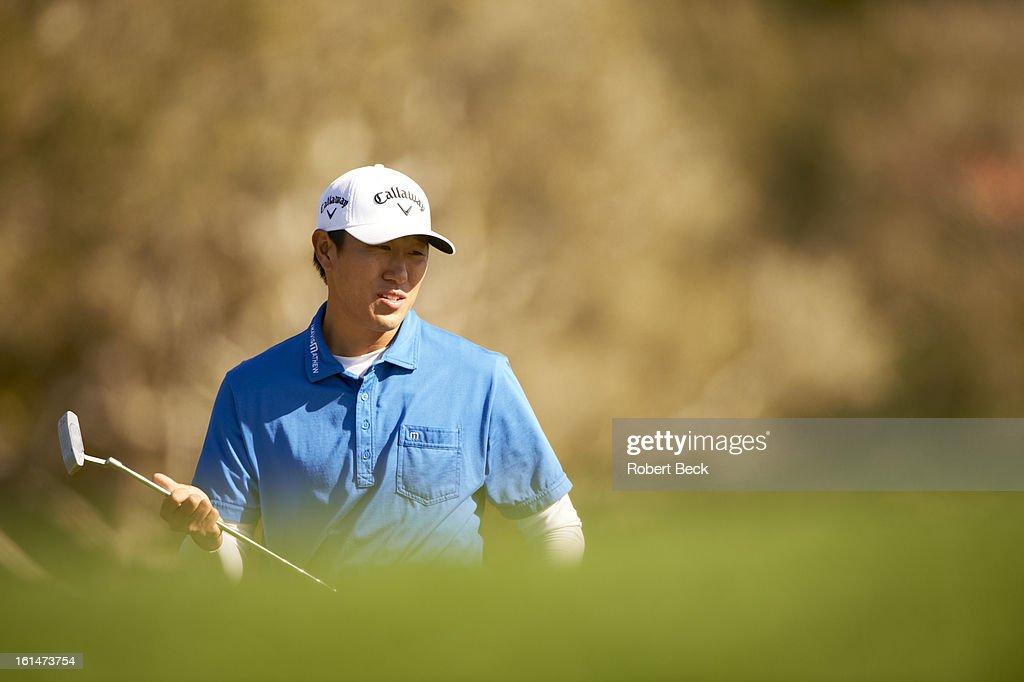 Closeup of James Hahn during Sunday play at Pebble Beach Golf Links. Robert Beck F124 )