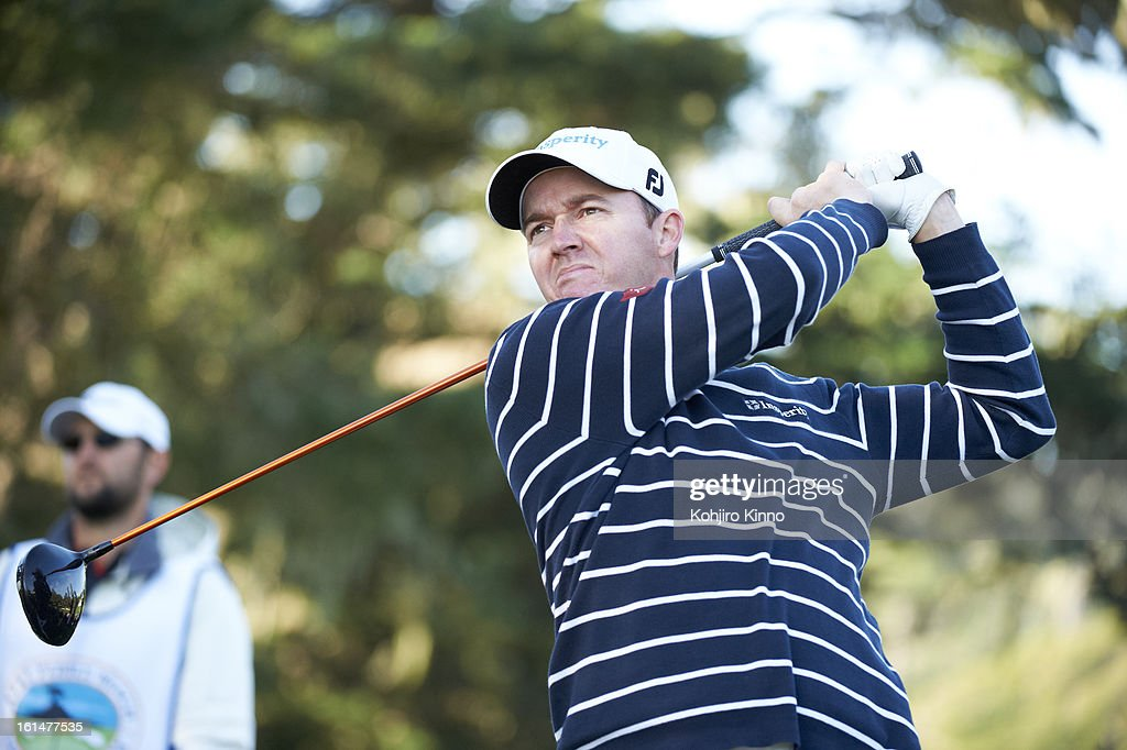 Closeup of Jimmy Walker in action, drive during Sunday play at Pebble Beach Golf Links. Kohjiro Kinno F11 )