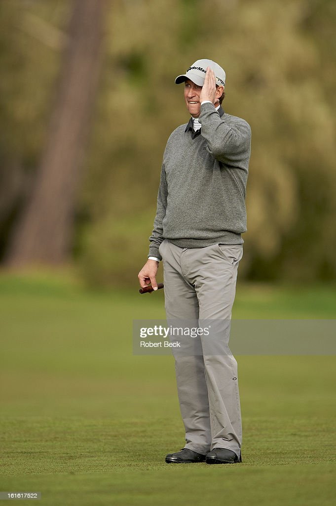 Former hockey player and NHL Hall of Famer Wayne Gretzky during Thursday play at Pebble Beach Golf Links. Robert Beck F18 )