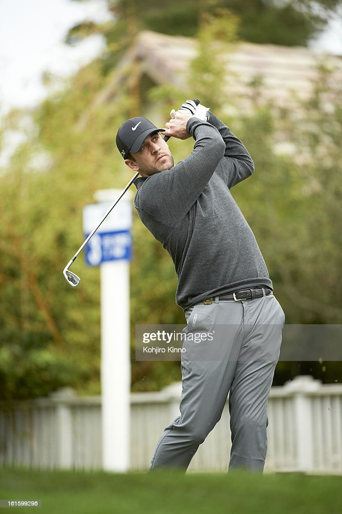 Green Bay Packers QB Aaron Rodgers in action during Thursday play at Pebble Beach Golf Links. Kohjiro Kinno F59 )