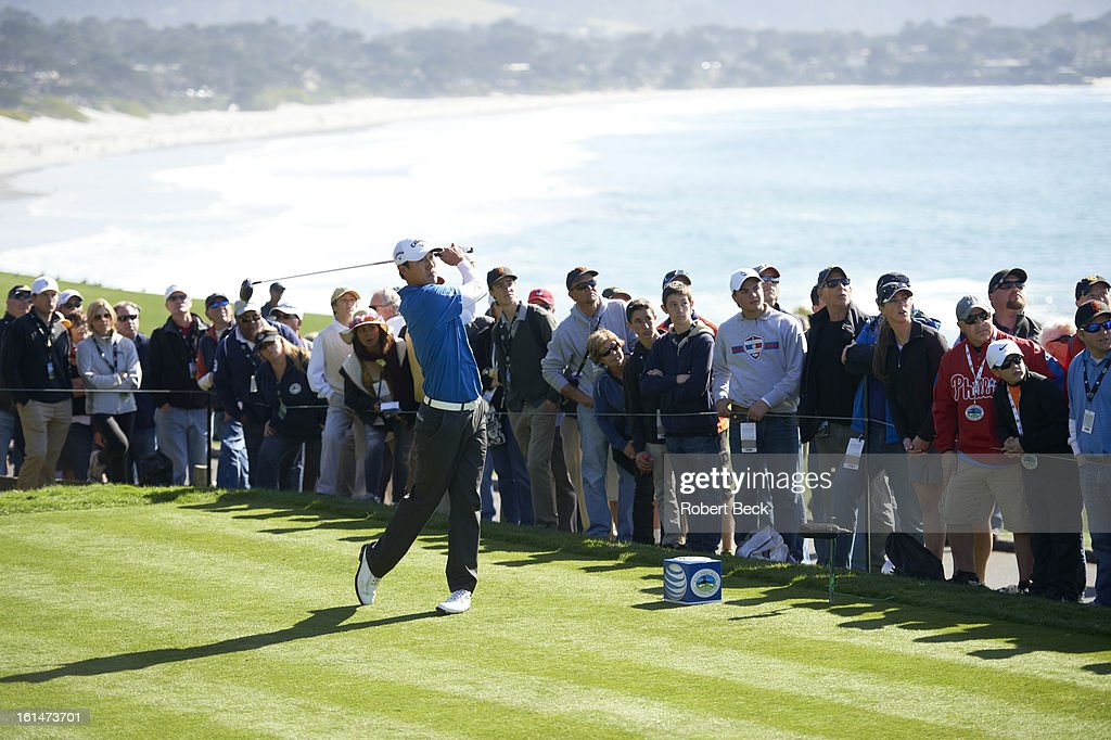 James Hahn in action, drive during Sunday play at Pebble Beach Golf Links. Robert Beck F62 )