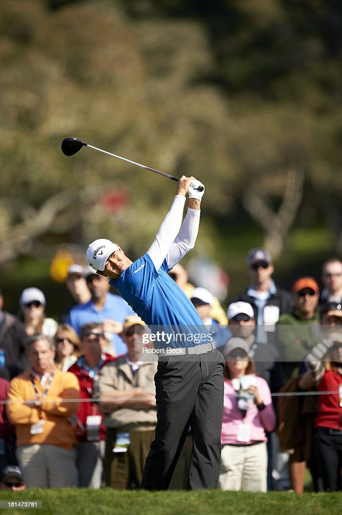 James Hahn in action, drive during Sunday play at Pebble Beach Golf Links. Robert Beck F78 )