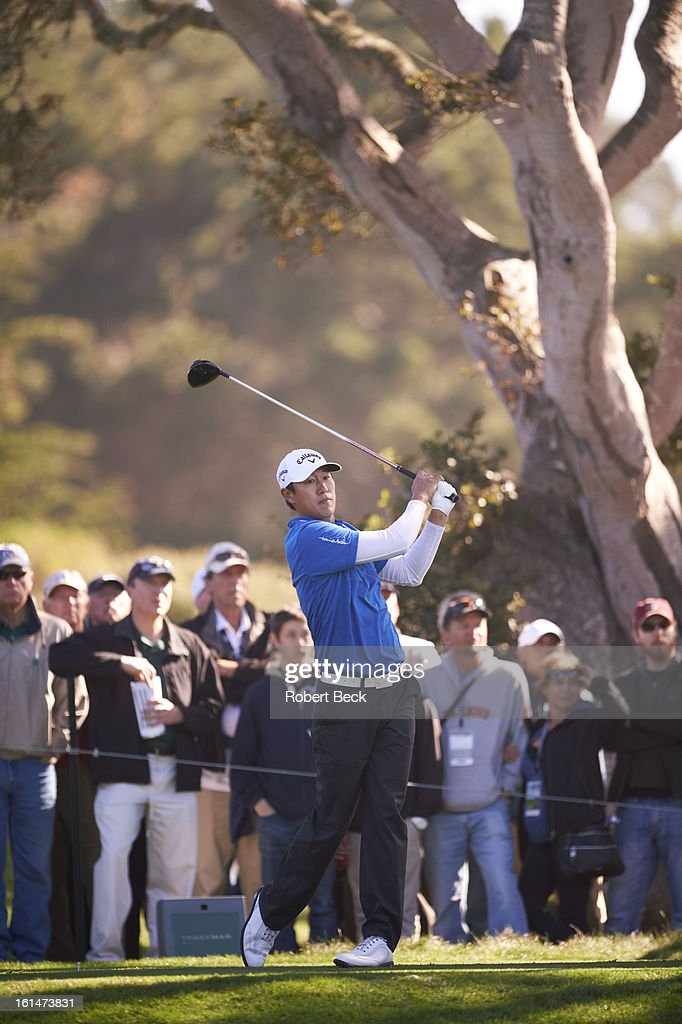 James Hahn in action, drive during Sunday play at Pebble Beach Golf Links. Robert Beck F190 )
