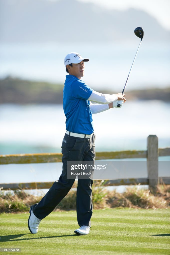 James Hahn in action, drive during Sunday play at Pebble Beach Golf Links. Robert Beck F115 )