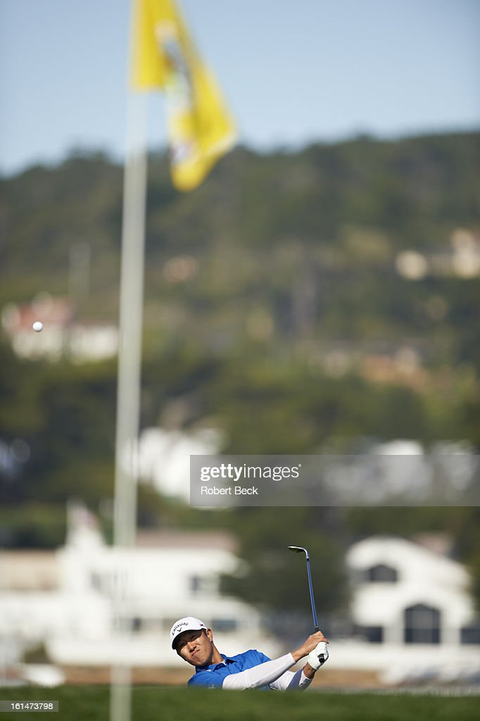 James Hahn in action during Sunday play at Pebble Beach Golf Links. Robert Beck F89 )