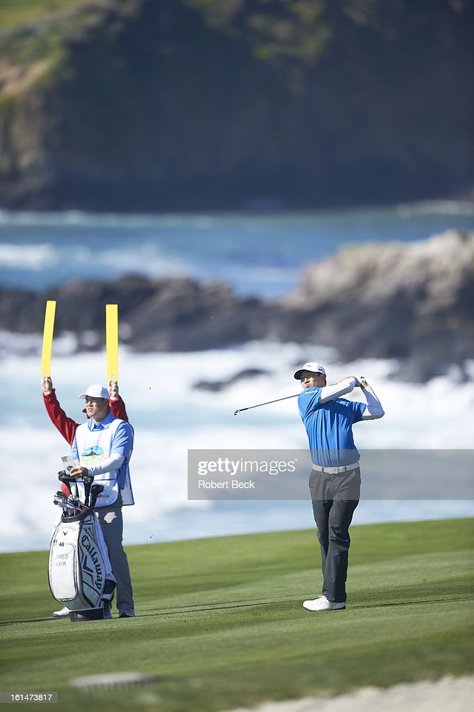 James Hahn in action during Sunday play at Pebble Beach Golf Links. Robert Beck F151 )