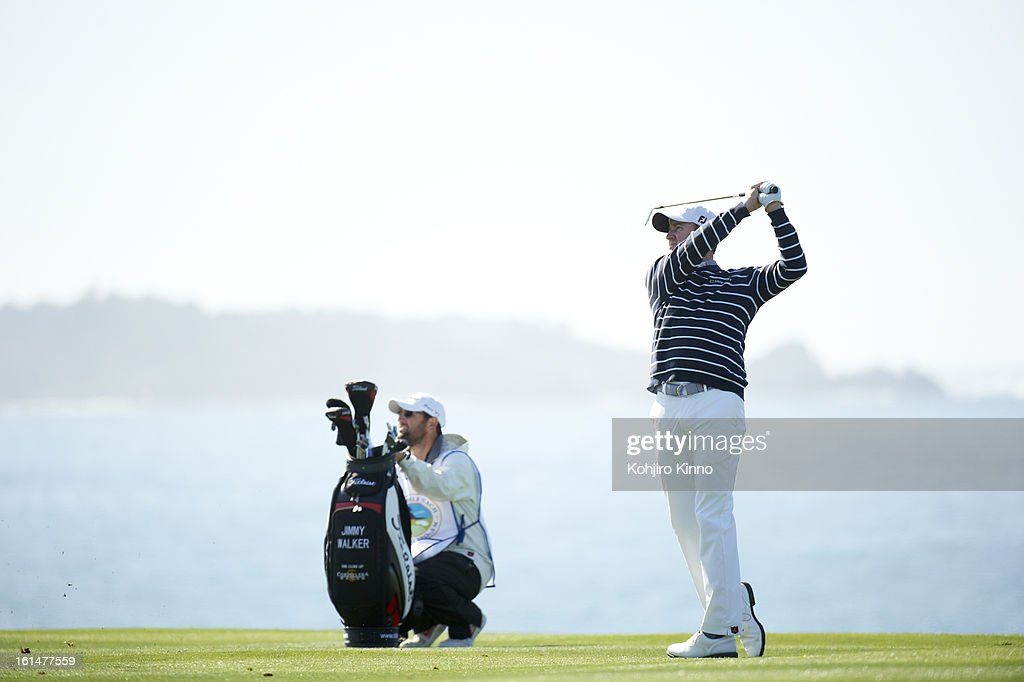 Jimmy Walker in action during Sunday play at Pebble Beach Golf Links. Kohjiro Kinno F74 )